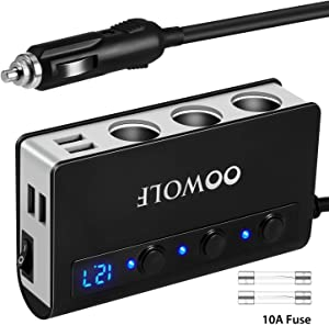 OOWOLF Cigarette Lighter Adapter Quick Charge 3.0 180W 12V/24V 3-Socket Splitter 4 USB Ports Car Power Adapter for GPS, Dash Cam, Sat Nav, Phone, iPad, Tablet, etc