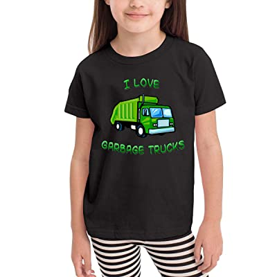 Donmlier Boy's&Girl's T-Shirt Ultra Soft Green I Love Garbage Trucks Design Children Short Sleeves T Shirts: Clothing
