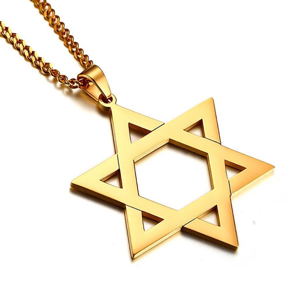 BOBIJOO Jewelry - Anhänger, Stern von David, Jude Vergoldet Herren Stahl Gold Glänzend 50mm + Kette 60cm