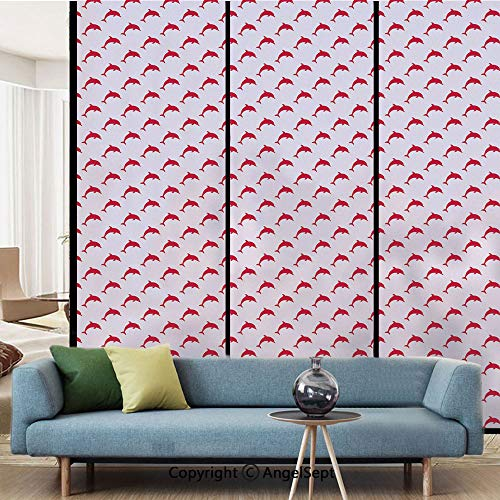 Glass Collection Tile Images - Window Film Decorate Glass Film,Dolphin Pattern with Marine Aqua Inspired Image Sea Animals Collection Decorative,W15.7xL63in,for Bathroom Bedroom Living Room,Vermilion Pale Pink