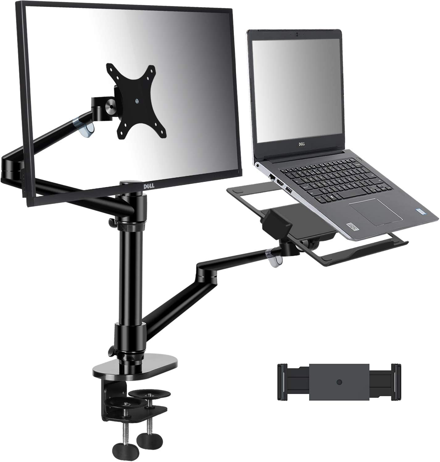 viozon Monitor and Laptop or Tablet Mount, 3-in-1 Adjustable Dual Arm Desk Stands?Monitor Arm for 17-32'' Computer Screens, Tablet Arm for 4-13'' Tablet&Phone, Extra Tray Fits 12-17'' Laptop (OL-3TB)