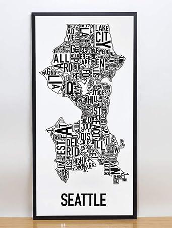 Amazoncom Framed Seattle Neighborhoods Map Art Poster Black