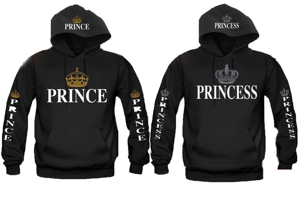 e379c99e5f5 Amazon.com  IZ.80 UNISEX Adult PRINCE and PRINCESS Crown Couple Matching  HOODIE Sweater  Clothing