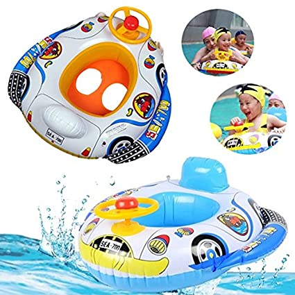 [Free Shipping] Kids Baby Inflatable Pool Seat Float Boat Swimming Wheel Horn //