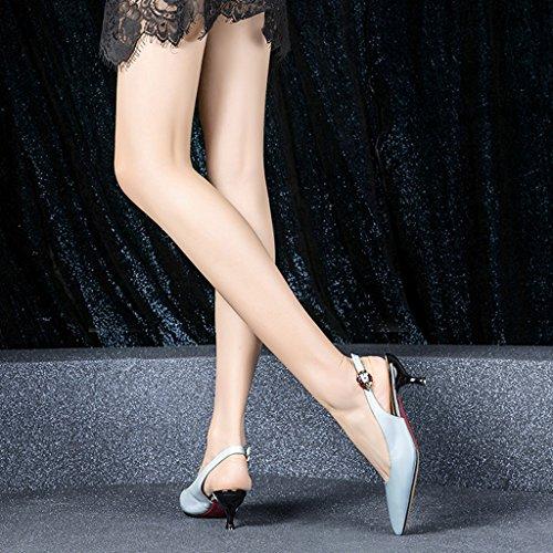 Zapatos Femenino Baja 35 Verano Cuero Talón Blue Nuevos Pequeño Color Zapatos Cinturón YUBIN Tamaño Jóvenes De De Vacío Gato Las Femenino Mujeres Primavera Zapatos con De Boca aBqW1wAH