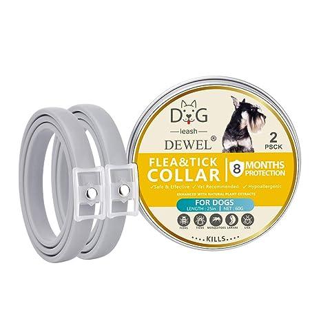 Dewel 2pcs Collar Antiparasitos Perros/Gatos Contra Pulgas,Garrapatas y Mosquitos,Tamaño Ajustable