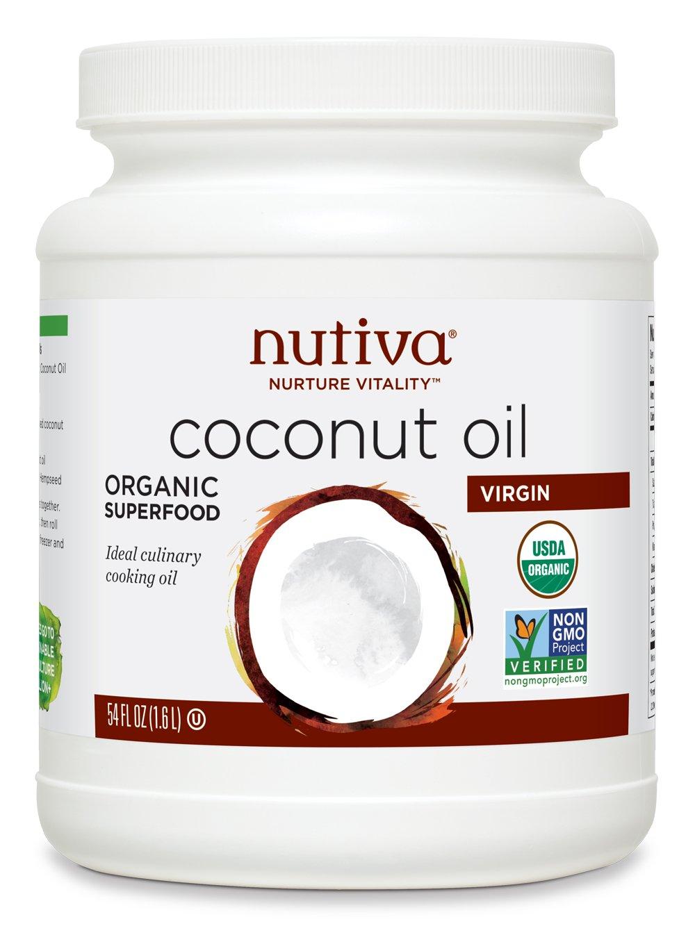 Nutiva Organic, Cold-Pressed, Unrefined, Virgin Coconut Oil from Fresh, non-GMO, Sustainably Farmed Coconuts, 54 Fluid Ounces