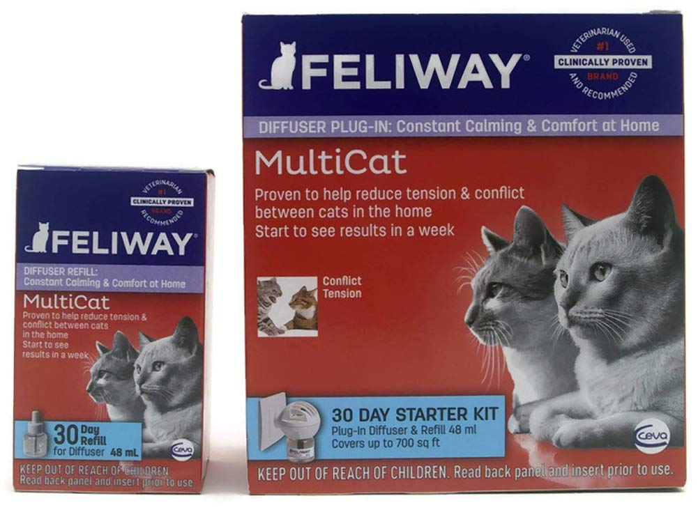 Feliway MultiCat Pheremone Diffuser & 2 Refills Cat Calming Product 60 Day Supply Bundle by Feliway