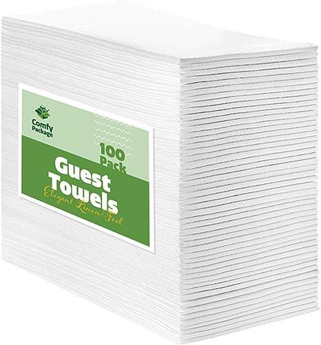Amazon Com 100 Pack Linen Feel Guest Towels Disposable Cloth Dinner Napkins Bathroom Paper Towels Wedding Napkins Kitchen Dining