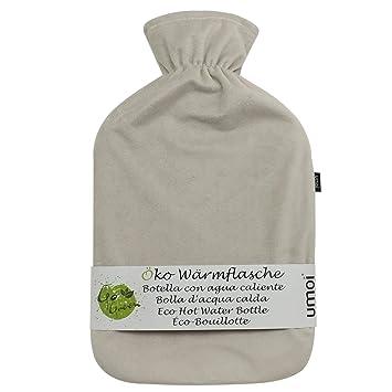 Umoi, ecobotella de agua caliente, 2 l con cubierta de lana coreana Supersoft de primera calidad, BS1970:2012 certificado beige beige