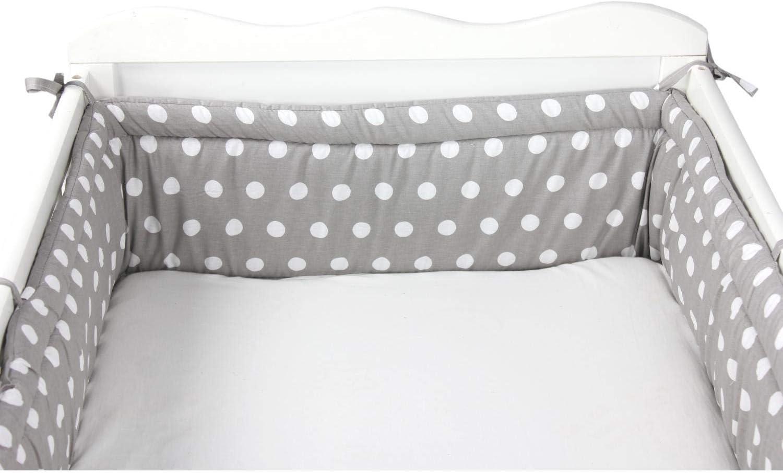 TupTam Babybett Bettumrandung Nestchen Lang Gemustert Farbe: Tupfen//Sterne Wei/ß//Grau Gr/ö/ße: 420x30cm f/ür Babybett 140x70