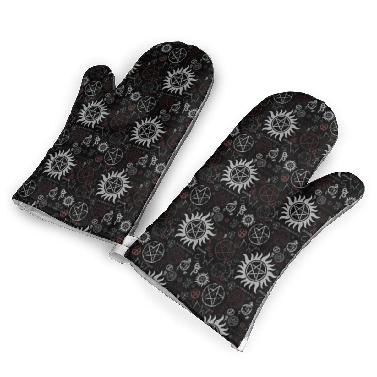 QOQD Supernatural Symbols Black Oven Mitts with Polyester Fabric Printed Pattern,1 Pair of Heat Resistant Oven Gloves for Cooking,Grilling,Barbecue Potholders