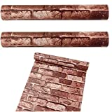 OMG_Shop Realistic Real Look Bricks/Stones Textured PVC Wallpaper Self-adhesive Contact Paper (1m Coffee Brick)