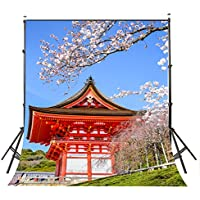 Lyly County 5x7ft Japanese Red Architecture Cherry Blossoms Photography Backdrop Tourist Attractions Photo Video Studio Props Wall PB409