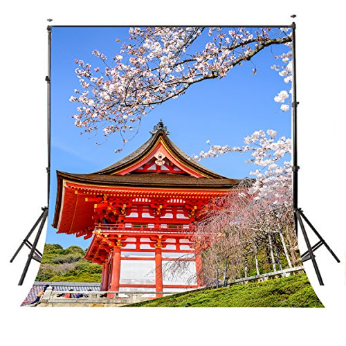 LYLYCTY 5X7 Views Backdrop Japan City Backdrop Japanese Cherry Blossoms Photography Background PB409