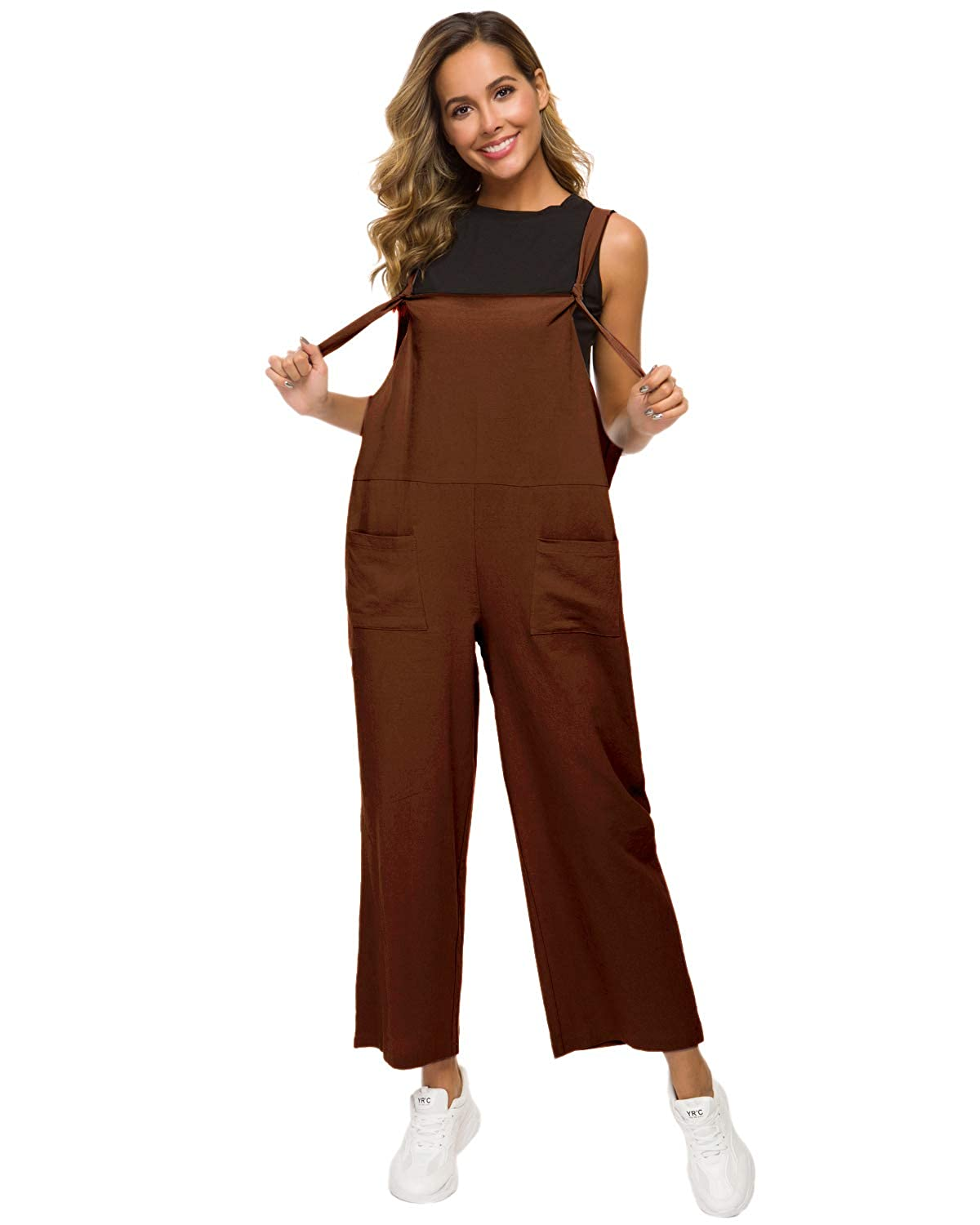 MINTLIMIT Women Jumpsuit Linen Loose Overall Sleeveless Strap Rompers Baggy Playsuit Wide Leg Harem Pants Dungarees