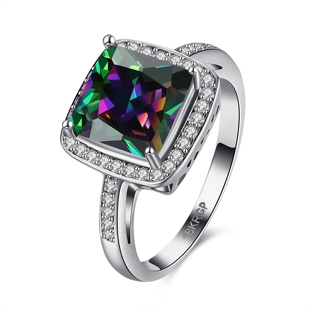 Princess Colorful CZ Crystal Halo Solitaire Wedding Engagement Ring Gift For Women Girl 18ct Gold Plated