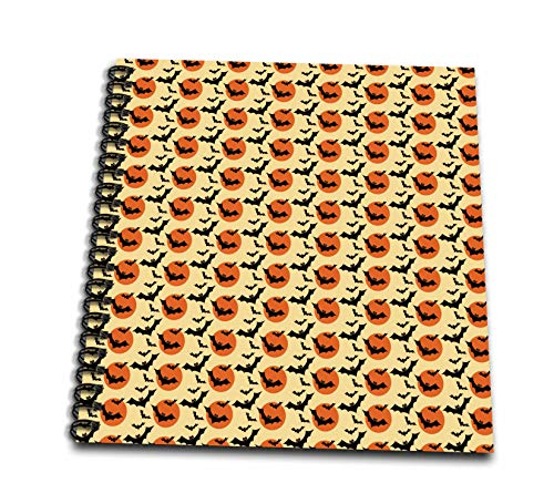 3dRose Anne Marie Baugh - Halloween - Cute Halloween Black Bats On Orange Moons Pattern - Drawing Book 8 x 8 inch (db_289306_1) ()