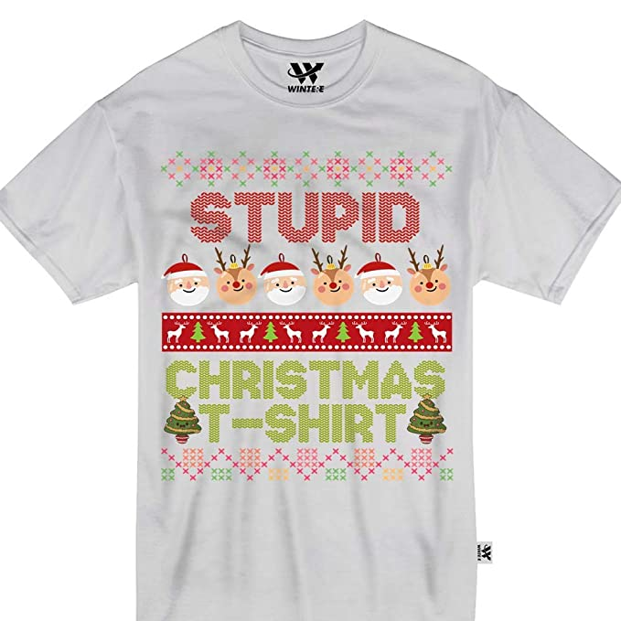 49e78ea94 Amazon.com: Stupid Christmas T-Shirt Cute Ugly Sweater Santa Rudolph Tshirt:  Clothing