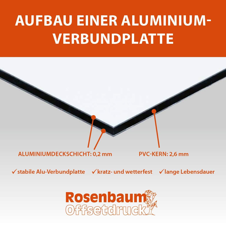 | 30 x 20 cm 4 Lochbohrungen 4 mm Alu-Hinweisschild 3mm stabile Aluminium Verbundplatte Grundst/ück wird video/überwacht Alu-Schild inkl