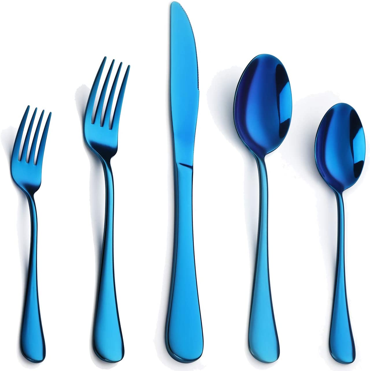 Blue Silverware Set 20-Piece, Stainless Steel Flatware Set for 4, Cutlery Utensils Include Knives/Forks/Spoons Service for 4, Mirror Polished, Dishwasher Safe