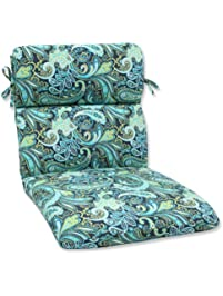Pillow Perfect Outdoor Pretty Paisley Rounded Corners Chair Cushion, Navy
