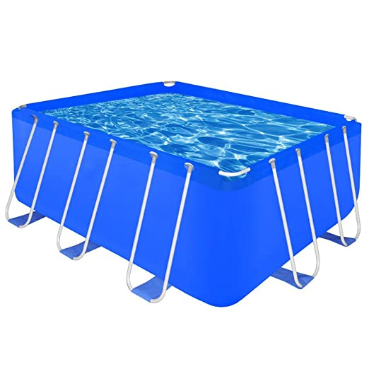 Amazon Festnight Pro Steel Frame Above Ground Swimming Pool Set Rectangular 13 1 X 6 9 4 Blue Sports Outdoors
