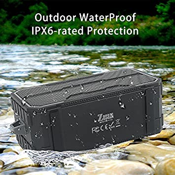 Zosam Portable Bluetooth Speaker, IPX6 Waterproof Wireless Speaker with 10W HD Stereo Sound, Rich Bass, 10H Playtime, Built-in Mic and AUX SD Input for Shower, Pool, Outdoor, Travel