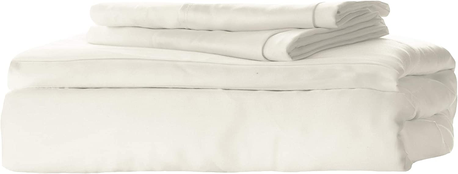 KicKee Home Woven Viscose from Bamboo Sheet Set - Buttery Soft Hypoallergenic Bedding, Temperature Cooling for Ultimate Comfort on Our Heavenly Sheets - Best 300 Thread Count (Twin, Natural)