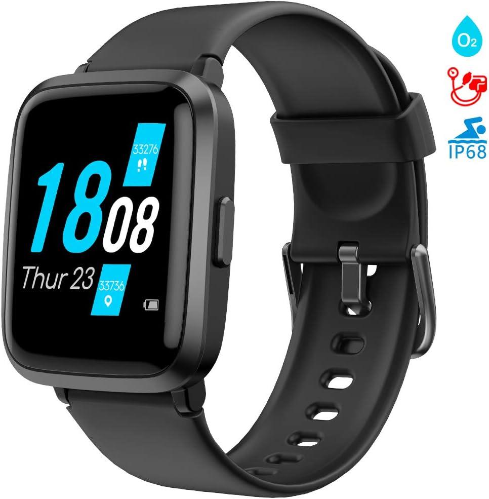 LIFEBEE Smartwatch, Reloj Inteligente Impermeable 5ATM Pantalla Táctil Completa con Pulsómetro Monitor de Sueño Podómetro Caloría Cronómetros, Pulsera Actividad Inteligente para Hombre Mujer niños