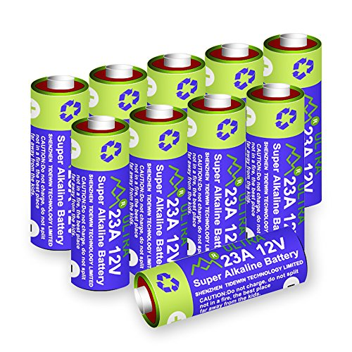 Price comparison product image 10 Pack A23 23A GP23AE MN21 23GA 12V Alkaline Battery High Capacity 55mAh for Remote Controls,  Alarm,  keyless Entry,  Electronics