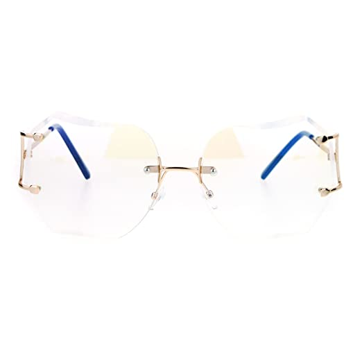 467bddeded Womens Granny Style Diva Rimless Clear Lens Butterfly Eye Glasses Gold
