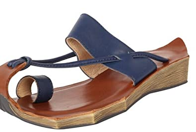 MatchLife Sandalen Zehentrenner Komfort Pantoletten Vintage Hausschuhe Leder Flach Slippers Freizeit Schuhe