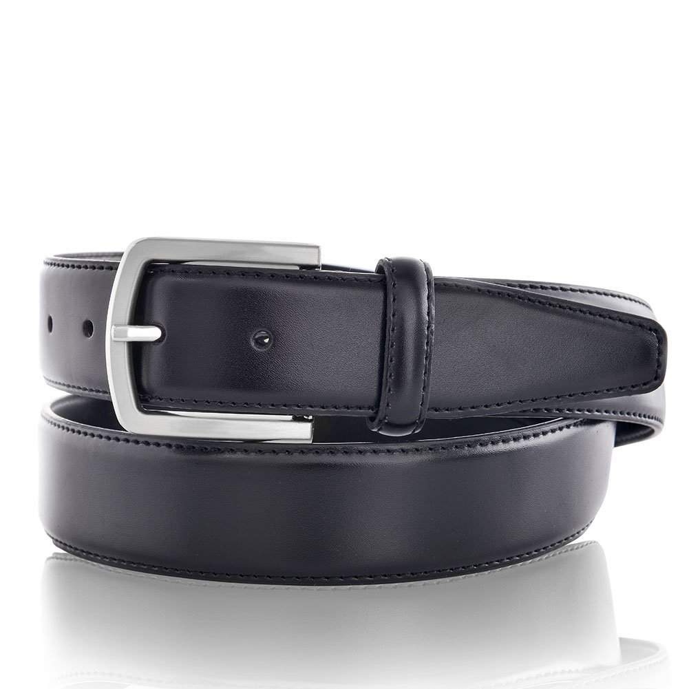 Men's Leather Dress Belt with Gift Box, Black, Size 40