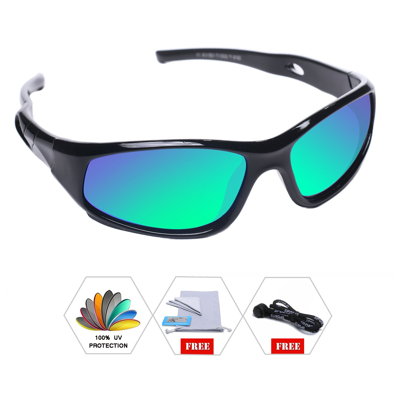 AODUOKE Sports Polarized Kids Sunglasses For Boys Girls Children Mirrored Lens Sunglasses With Strap (Black   Green Lens)