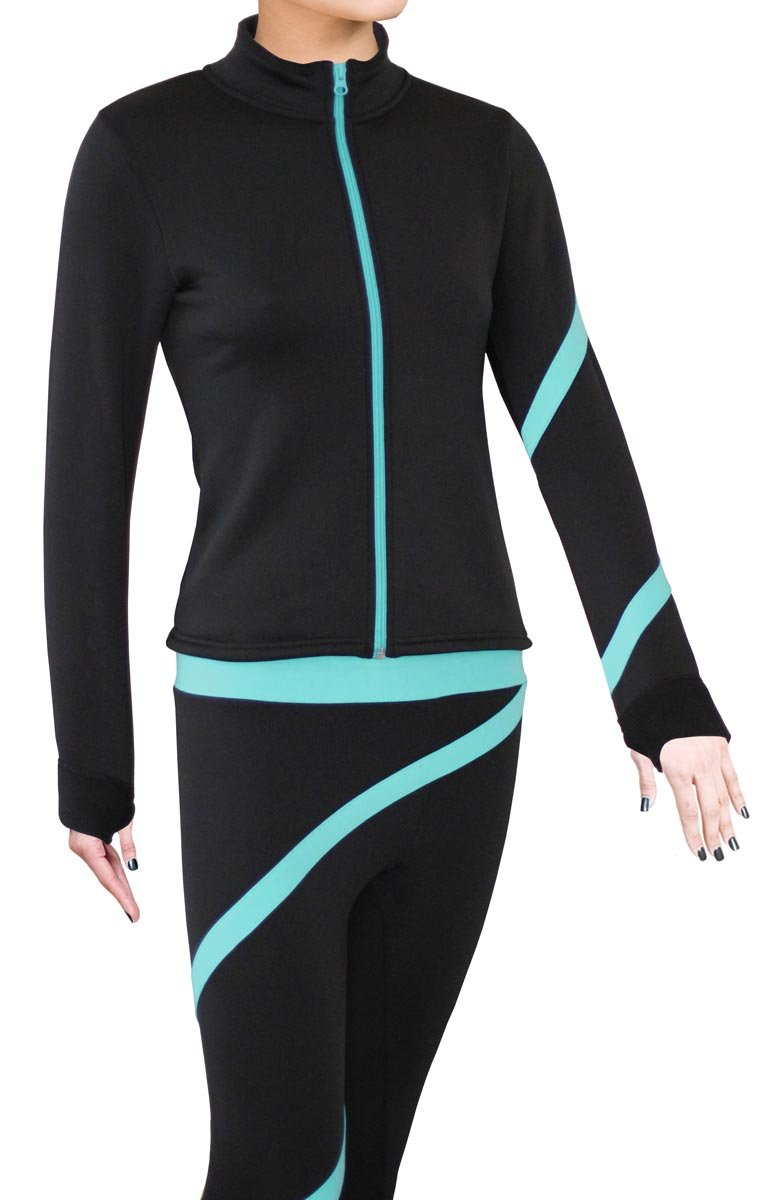 ny2 Sportswear Figure Skating Polartec Polar Fleece Spiral Jacket (Turquoise, Adult Small) by ny2 Sportswear