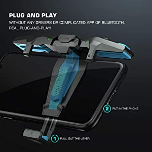 GameSir F4 Falcon Mobile Gaming Controller For PUBG CoD Mobile, Mobile Joystick Grip for Android iPhone 7/8/9/10, Plug and Play Mini fast Gamepad, No Bluetooth (Color: Black)
