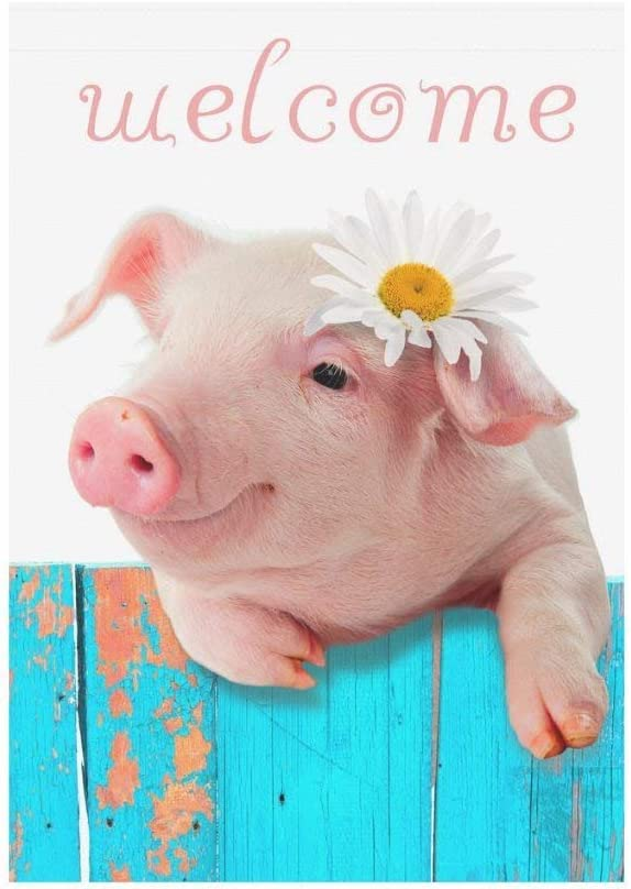 BoloHome Funny Piglet with Flower Garden Flag Double Sided Outdoor Banner 28 x 40 inch, Cute Piggy Pig Welcome Decorative Large House Flags for Party Yard Home Decor, 100% Polyester