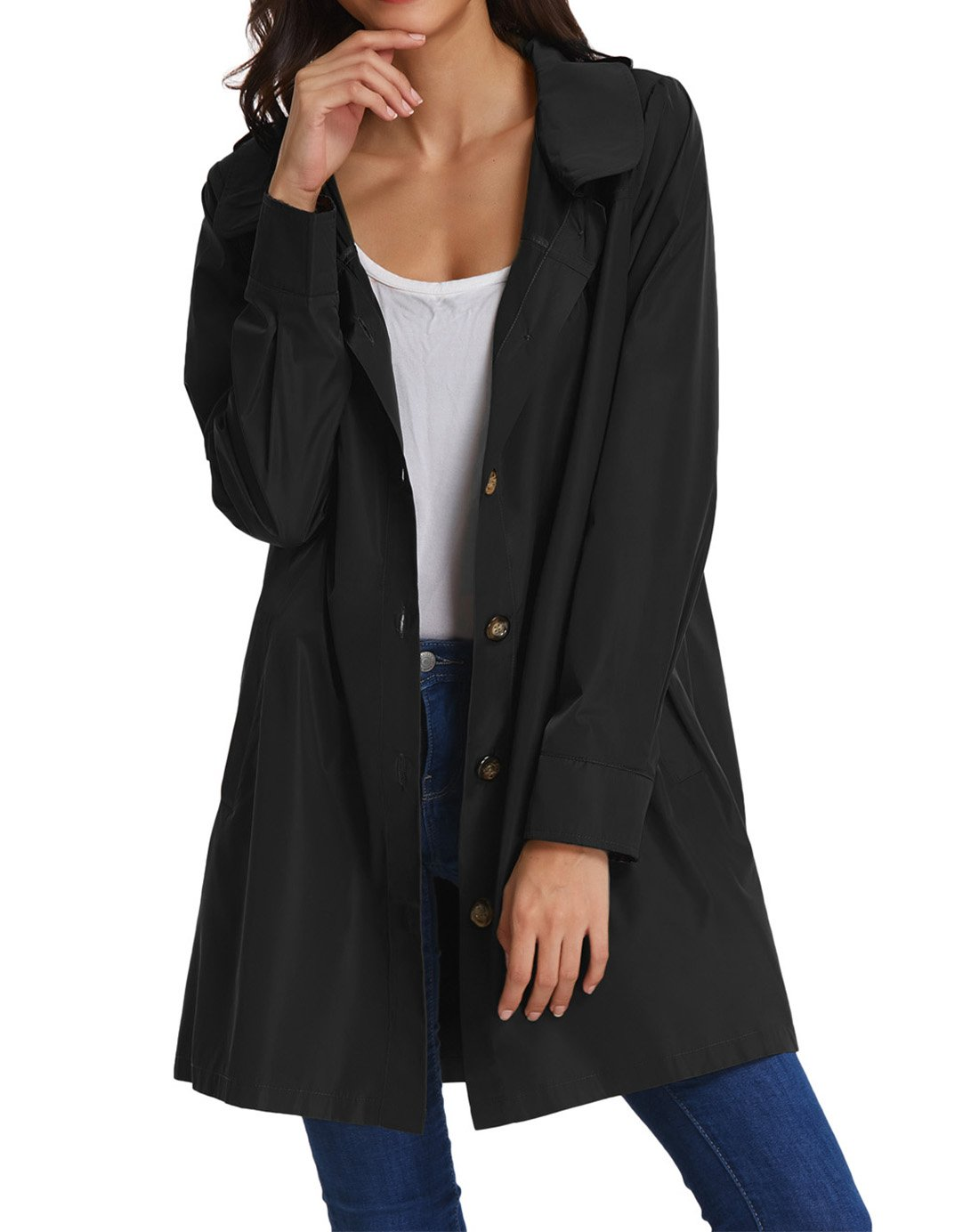 Womens Lightweight Raincoat Hooded Waterproof Active Outdoor Rain Jacket KK822-1 M Black