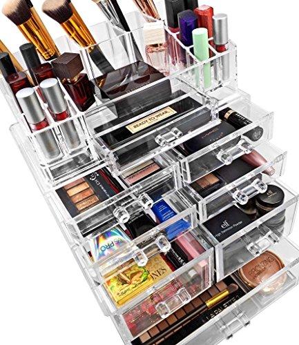 sorbus acrylic cosmetics makeup and jewelry storage case display sets  u2013 interlocking drawers to