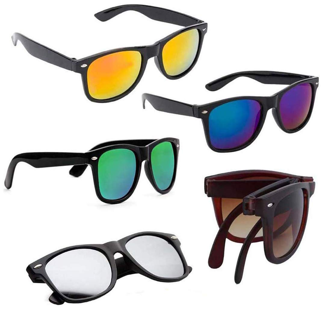 ELLIGATOR UV Protected Combo of Unisex Sunglasses (3, Multicolour)