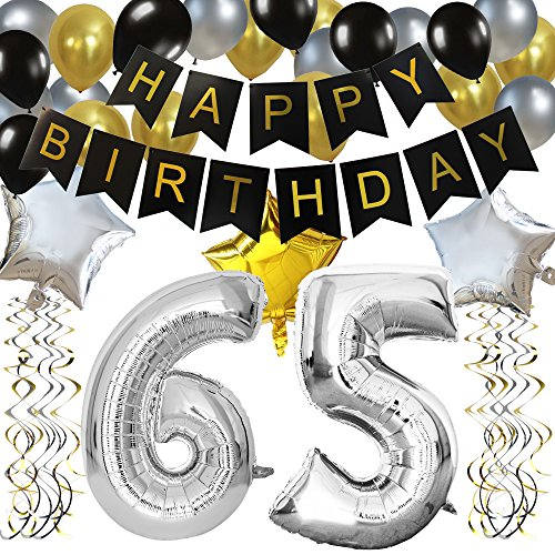 KUNGYO Classy 65TH Birthday Party Decorations Kit-Black Happy Brithday Banner,Silver 65 Mylar Foil Balloon, Star, Latex Balloon,Hanging Swirls, Perfect 65 Years Old Party Supplies -