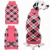 Dog Sweater Coat Apparel - Plaid Knitwear Winter Clothes,Pink,SM
