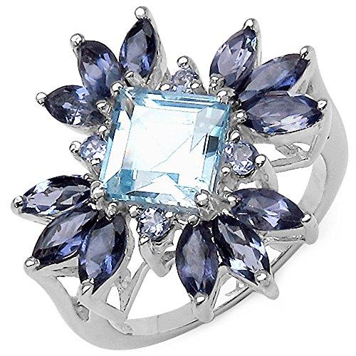 Bonyak Jewelry Genuine Square Blue Topaz, Iolite and Tanzanite Ring in Sterling Silver - Size 6.00 (Tanzanite Ring Iolite)