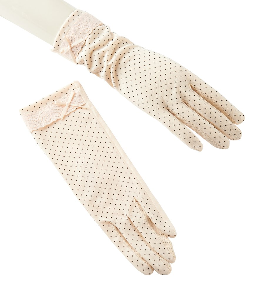 Women's Uv Protection Driving Glove Sun Block Glove Touch Screen Cotton Non-slip Beige