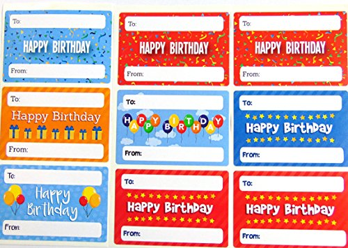 Happy Birthday Gift And Present Tags Colourful Greeting Stickers Self Adhesive Labels 9 Designs