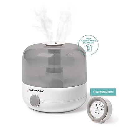 Suavinex - Humidificador Silencioso de Vapor en Frío para Bebés con Preciso Higrómetro. Tecnología Ultrasonido, Color Blanco y Gris