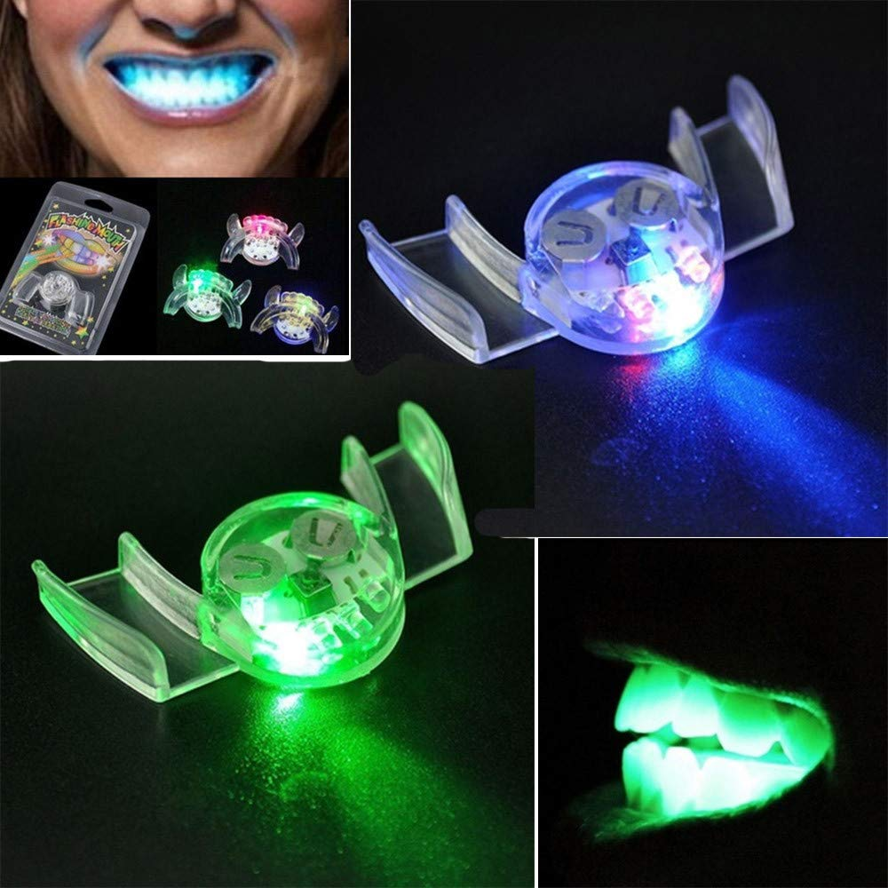 2Pcs Flashing LED Light Up Mouth Braces Piece Glow Teeth for Halloween Party