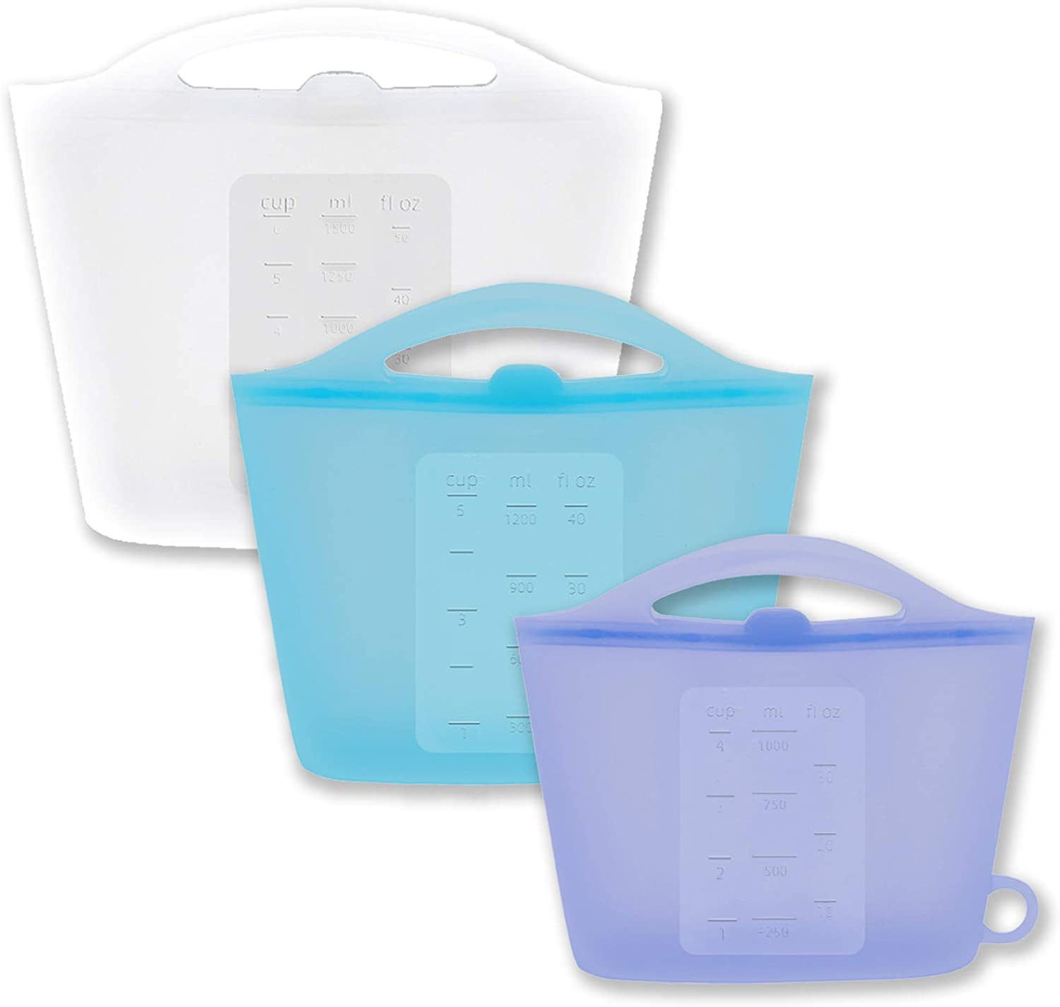 100% Silicone Reusable Food Storage Bags and Containers,Plastic Free Lunch Bag,Stand Up Preservation Bag, for Cook, Store, Sous Vide, or Freeze (1500ml,1200ml,1000ml, White,Blue,Purple)