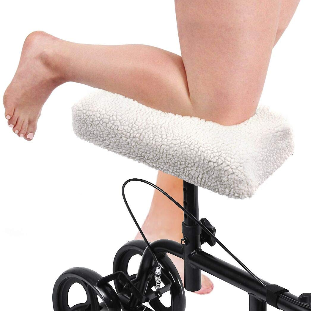 Guckmall Knee Walker Pad Cover, Improves Leg Cart Comfort During Injury, Plush Synthetic Faux Sheepskin Accessory for Knee Scooter and Roller, Padding Easily Attaches to Most Walkers(Creamy-White) by Guckmall